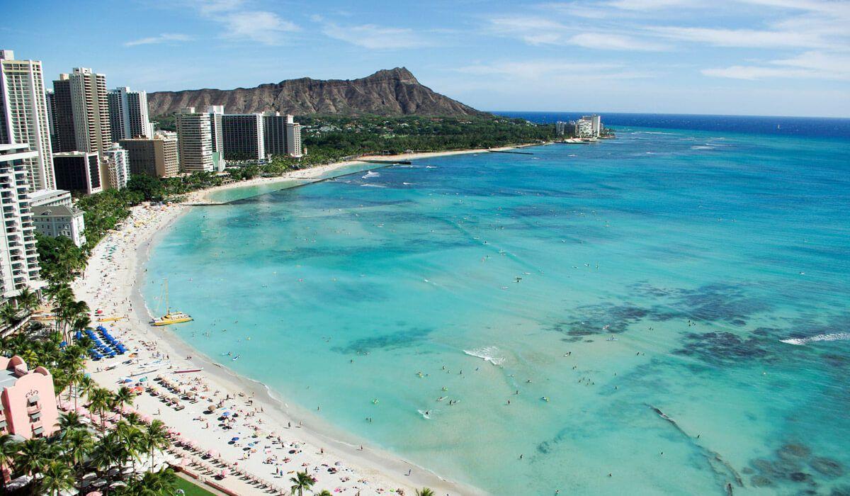 La playa de Waikiki, en Hawaii, de las más populares