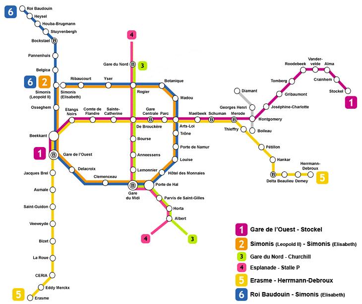 Mapa del Metro de Bruselas