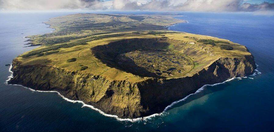 Vista aérea del Volcán Rano Kau