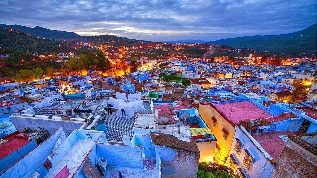 Pueblos de Marruecos en la puesta del sol